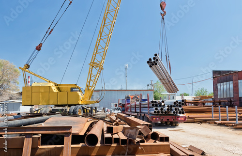 loading of steel products and tubes with crane Poster