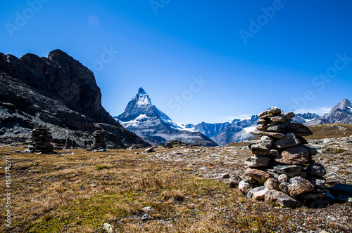 View of Matterhorn and piles of stones/ Poster