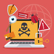 blue color background laptop with attack virus and icons protection vector illustration
