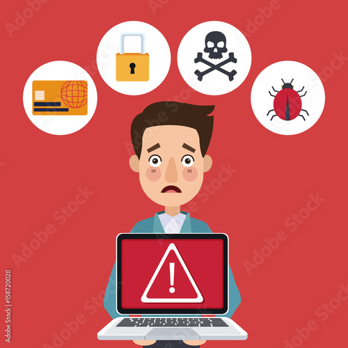 red color background person holding a laptop with alert symbol vector illustration