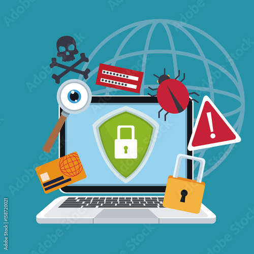 blue color background laptop with security shield and icons protection vector illustration