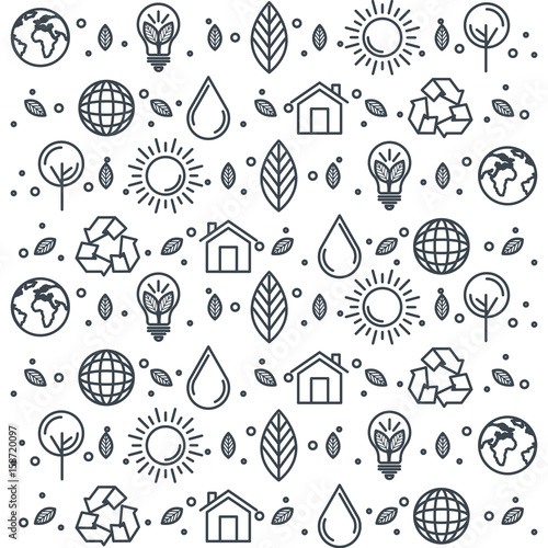Hand drawn eco friendly items pattern over white background vector illustration © Gstudio Group