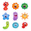Set of germs and virus vector illustrations.