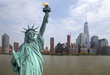 Skyline of Manhattan with Liberty Statue on front