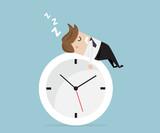 businessman sleeping on clock - 158731489