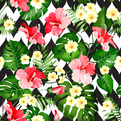 Obraz na Szkle Seamless tropical pattern. Summer flowers of plumeria and hibiscus at fabric swatch. Beautiful tile with a tropical flowers isolated over color background. Blossom plumeria for your design.