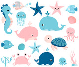 Cute ocean set with sea creatures for girls and boys summer baby shower and birthday designs