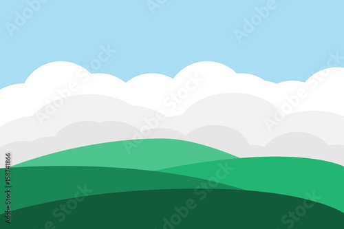 Fotobehang Pool mountain hill landscape sky background.vector and illustration