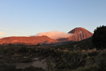 Early sunrise over Mt Ngauruhoe, tramping in New Zealand, Tongariro