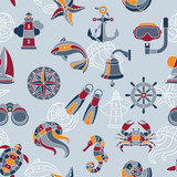 Seaside seamless pattern