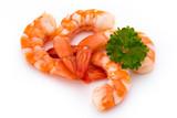 Steamed tiger shrimp isolated on white background.