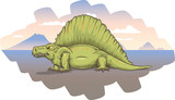 A cartoon Dimetrodon, lying on a barren plain at sunset.