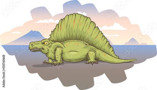 A cartoon Dimetrodon, lying on a barren plain at sunset.