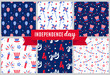 Independence day of America festive seamless pattern backgrounds set