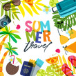 Vector banner, poster or flyer design template with palm leaves, luggage, swimsuit and calligraphy lettering. Hand drawn illustration. Trendy concept for summer travel, holidays and tourism background