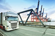 Quadro Warenhandel und Logistik: LKW im Containerhafen // Merchandise and logistics: Trucks in the container port