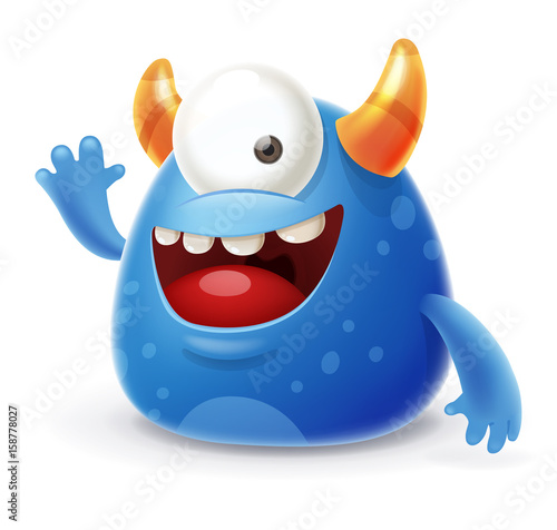 Cheerful Blue Monster