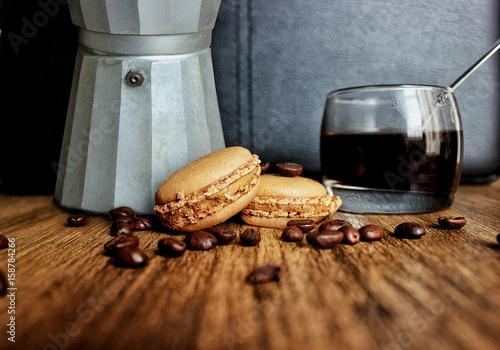 Papiers peints Café en grains Macaron café