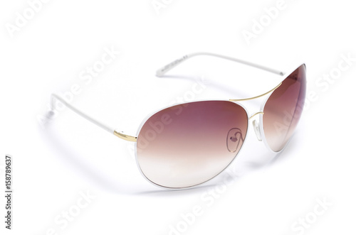 Poster Sunglasses in an iron frame with pink glass isolated on white