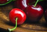 Fresh and ripe cherry berries, macro image, selective focus
