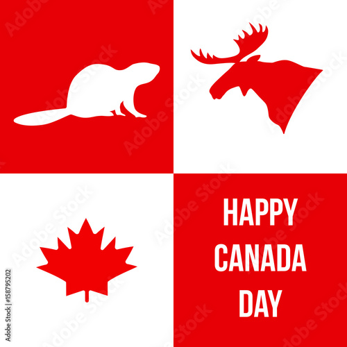 Happy Canada Day Silhouettes Of Canadian Symbols Moose Beaver