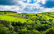 Scenic view English countryside on springtime in Forest of Bowland, Lancashire, England UK