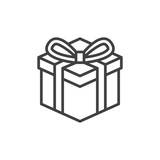 Gift box line icon, outline vector sign, linear style pictogram isolated on white. Present symbol, logo illustration. Editable stroke. Pixel perfect