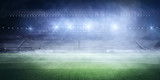 Foggy soccer field - 158816252