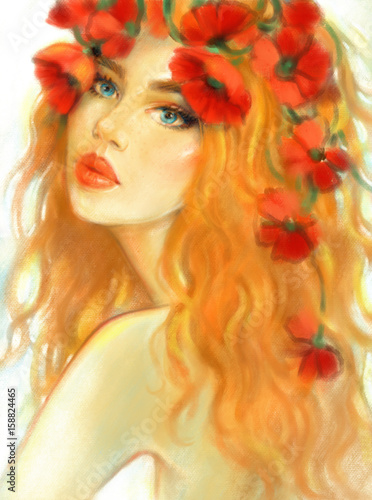 Beautiful woman with flowers on head. Fashion illustration