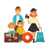 Family people travel vector flat icons woman, man and children vacation trip