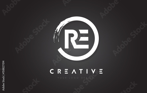 RE Circular Letter Logo with Circle Brush Design and Black Background.
