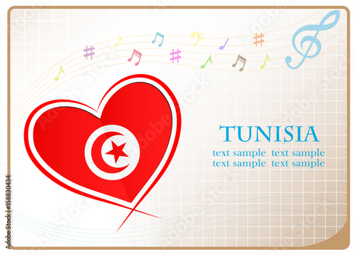 heart logo made from the flag of Tunisia