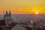 Autumn in Prague, Czech Republic. Beautiful Prague at sunrise. Morning in the Prague city, Central Europe.