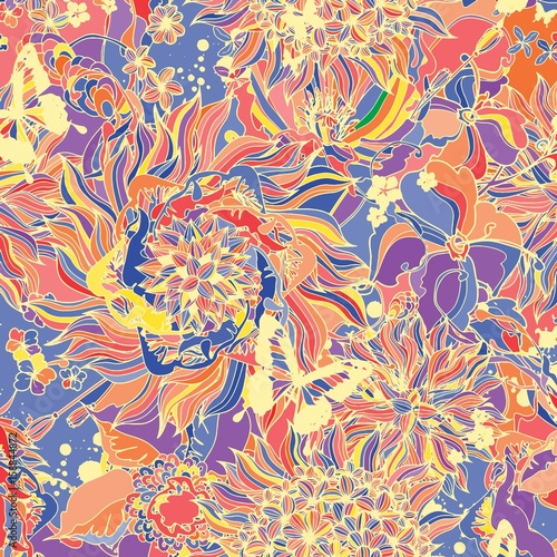 Abstract background consisting of flowers and butterflies - 158844872