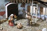 nativity scene with holy family in a stall - 158846877