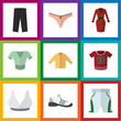 Flat Dress Set Of Sneakers, Casual, Banyan And Other Vector Objects. Also Includes Lingerie, Trousers, Bra Elements.