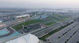 ABU DHABI, UAE - DECEMBER 2016: Ferrari World aerial view. Abu Dhabi attracts 10 million tourists annually