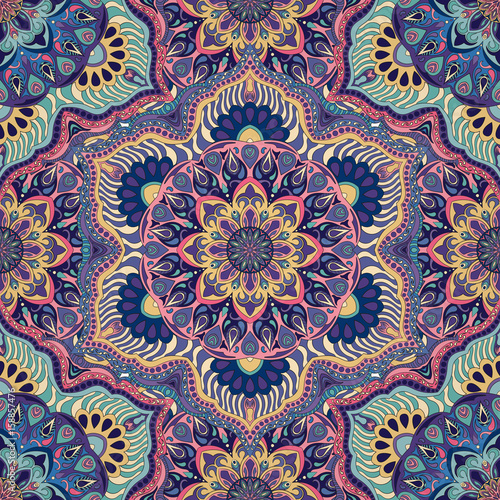 Materiał do szycia Kwiecisty kwiatowy tekstura, niekończące się wzór z elementami vintage mandala.