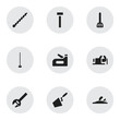 Set Of 9 Editable Equipment Icons. Includes Symbols Such As Trowel, Bore, Kitchen Spatula And More. Can Be Used For Web, Mobile, UI And Infographic Design.