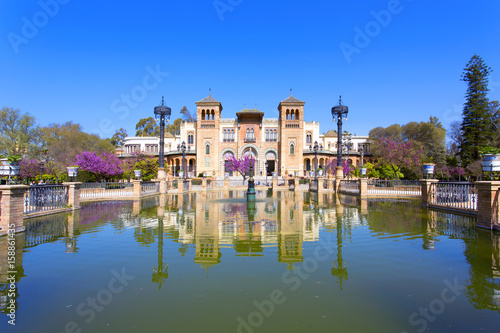 The mudejar pavilion and pond placed in the Plaza de America, houses the Museum of Arts and Traditions of Sevilla, Andalusia,