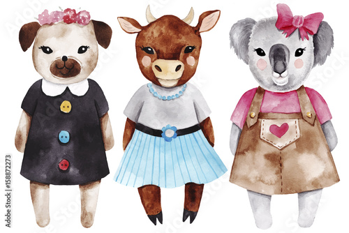 Set with little animal girls. Watercolor fashion cute illustrations. - 158872273