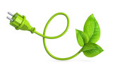 e-shaped green power plug with leaves - 158886210