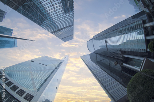 fisheye view of Building in Hong Kong Poster