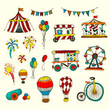 Doodle Set of Circus elements isolated on white, - 158893612