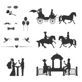 Silhouette Of The Bride And Groom They Ride Horseback Riding Sit In The Carriage Near The Arbor Stand  A Flower Mustaches Balls Lips  Wall Sticker