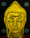 Modern art portrait painting of the Buddha in a gold tone