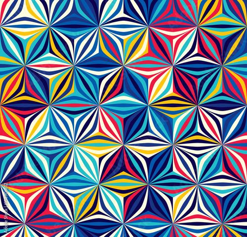 Fototapeta Bright seamless pattern of geometric shapes. Color creates the volume elements.