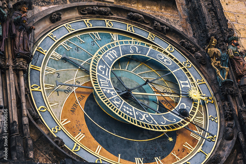 Fototapeta Detail of the astronomical clock in the Old Town Square in Prague, Czech Republic. Toned image