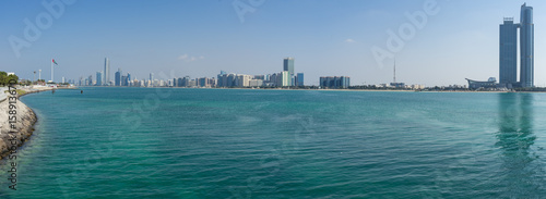 Fotobehang Abu Dhabi Abu Dhabi cityscape from Marina viewpoint, UAE United Arab Emirates