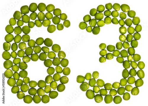 Poster Arabic numeral 63, sixty three, from green peas, isolated on white background